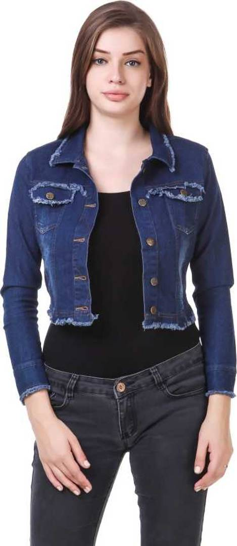 Trendy Blue Denim Jacket For Women's - vezzmart