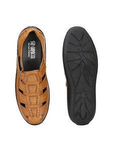Men's Tan Synthetic Comfort Sandals - vezzmart