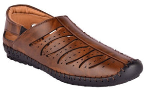 Smart & Trendy Brown Roman Faux Leather Sandals for Men - vezzmart