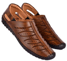Load image into Gallery viewer, Smart & Trendy Brown Roman Faux Leather Sandals for Men - vezzmart