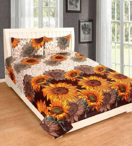 Polycotton Double Bed Sheet With 2 Pillow covers - vezzmart