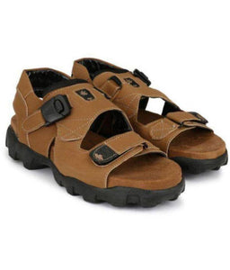 Comfy Tan Synthetic Sandals for Men - vezzmart