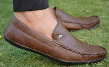 Load image into Gallery viewer, Elegant Coffee Solid Synthetic Leather Men's Loafers - vezzmart