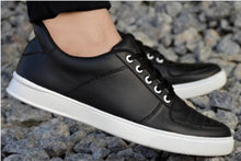 Load image into Gallery viewer, Men's Black Synthetic Leather Solid Sneakers - vezzmart