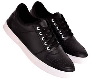 Men's Black Synthetic Leather Solid Sneakers - vezzmart