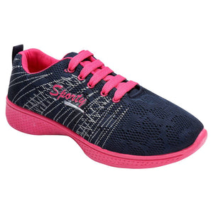 Women's Navy Blue Sports Running Shoes - vezzmart