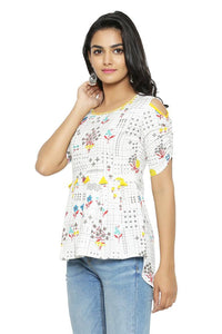 Alluring Off White Floral Print Cotton Flex Women's Top - vezzmart