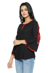 Alluring Black Solid Rayon Women's Top - vezzmart