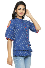 Load image into Gallery viewer, Alluring Blue Ikat Print Cotton Cambric Women's Top - vezzmart