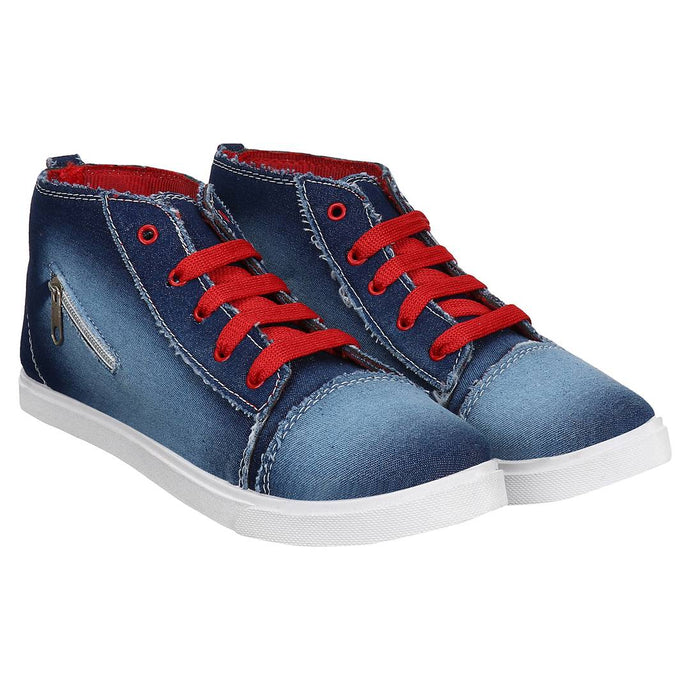 Stylish Blue Denim Mid Ankle Casual Sneakers - vezzmart