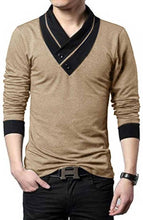Load image into Gallery viewer, Men's Golden Cotton Self Pattern V Neck Tees - vezzmart