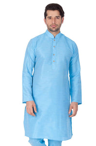 Men's Blue Cotton Silk Kurta - vezzmart