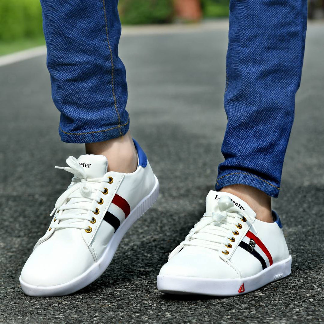 White Synthetic Self Design Sneakers Shoes For Men's - vezzmart