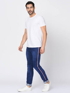 Men's Blue Denim Faded Slim Fit Low-Rise Jeans - vezzmart