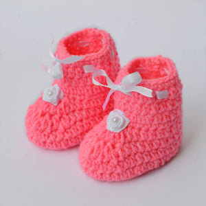 Long Lasting Pink Woven Design Wool Kid's Booties - vezzmart