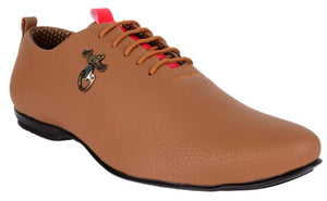 Elegant Tan Synthetic Leather Solid Men's Shoes - vezzmart