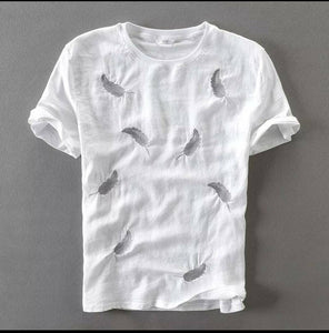 Men's White Cotton Printed Round Neck Tees - vezzmart