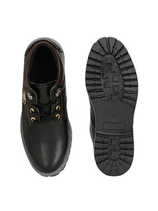 Men's Synthetic Leather Black Casual Lace Up Sneakers - vezzmart