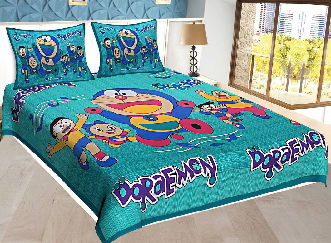 Comfortable Multicoloured Cotton Abstract Double Bedsheet - vezzmart