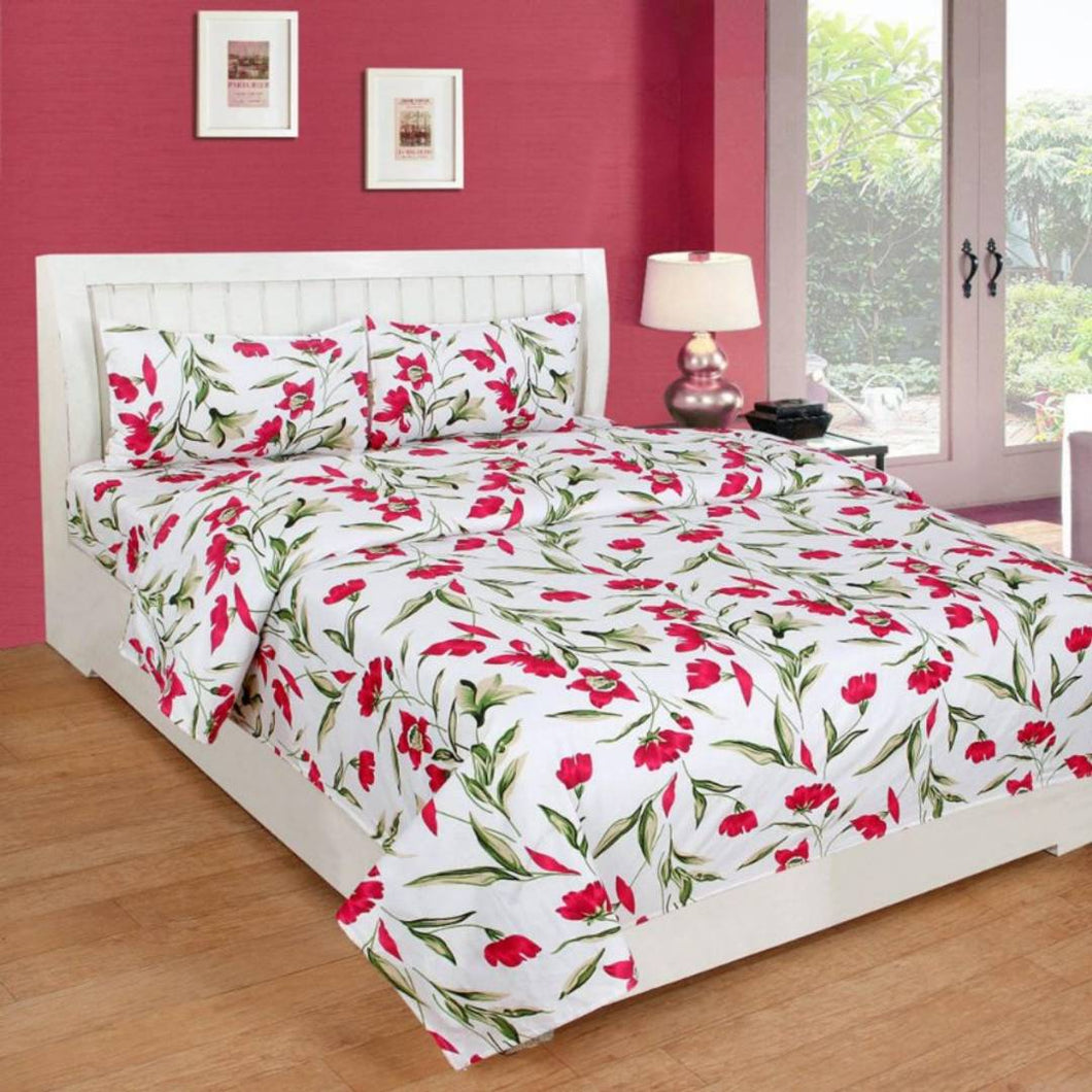 Poly Cotton 3D Double Bedsheet With 2 Pillow Covers - vezzmart