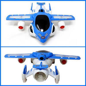 360 DEGREE ROTATING WITH AUTO PLANE TO CAR TRANSFORM TOY WITH 3D LIGHTS - vezzmart