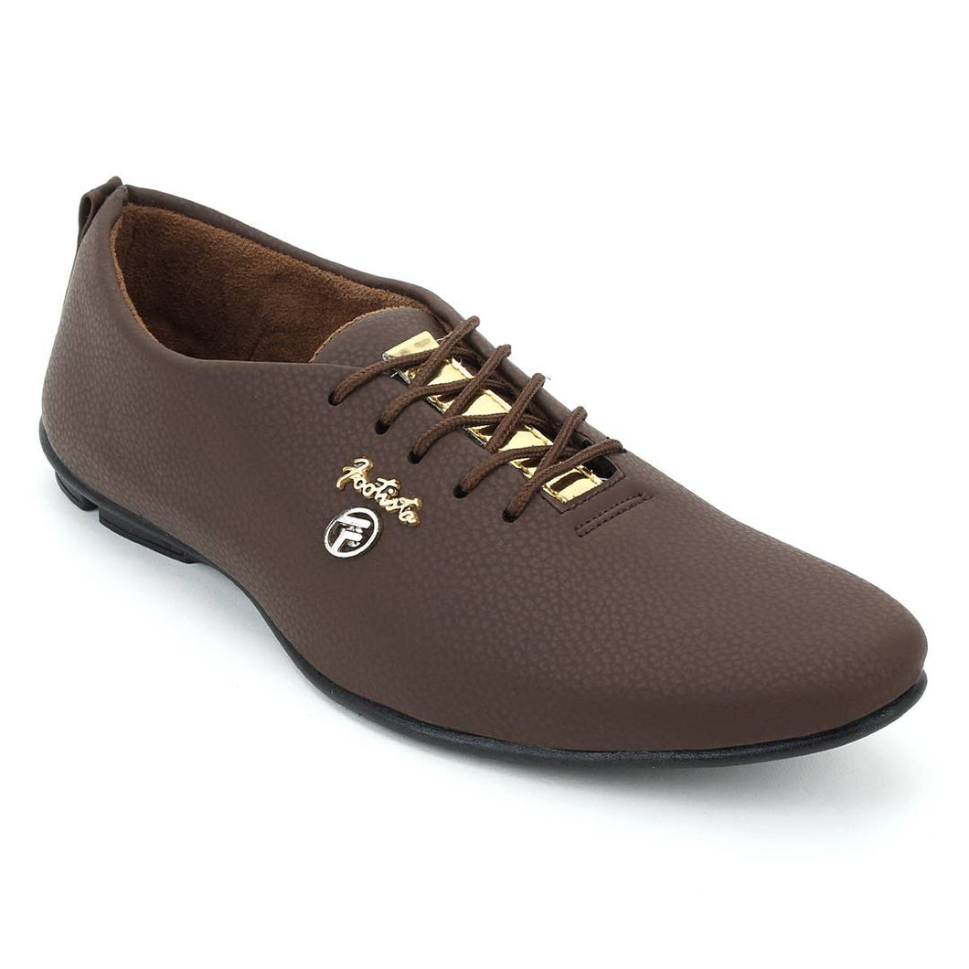 Stylish Tan Synthetic Leather Solid Men's Sneakers - vezzmart