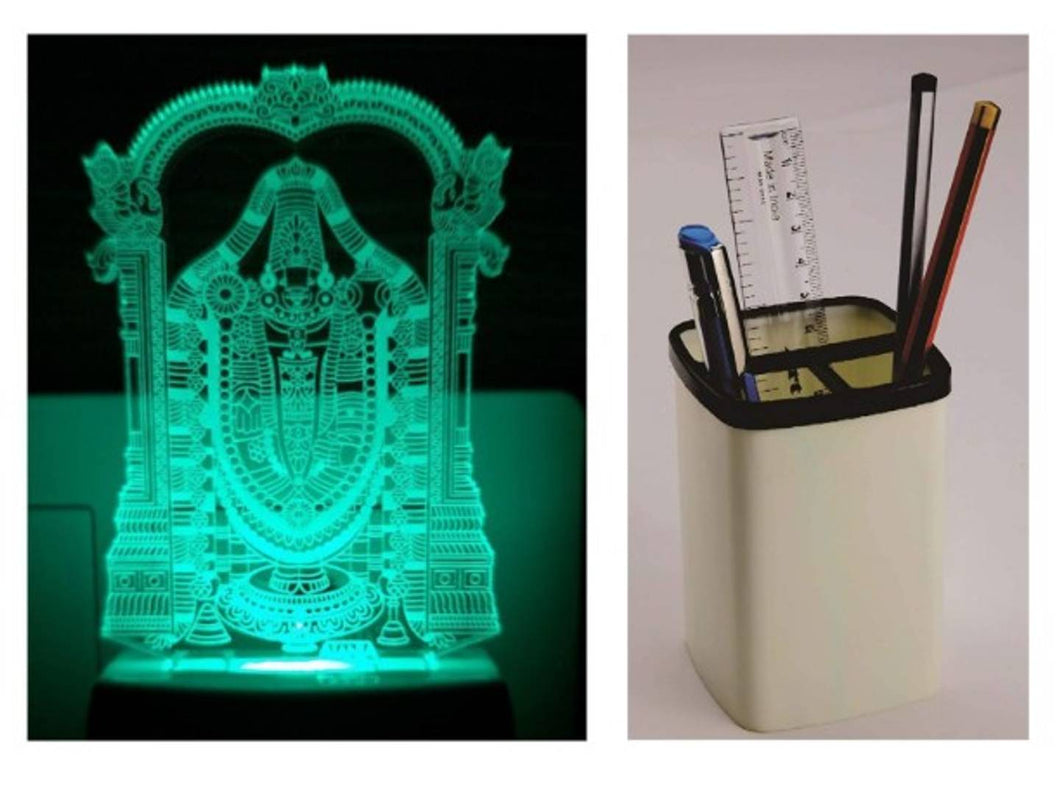 Tirupati Balaji Night lamp Home Decorative Items - Multicolour with Plastic Pen stand(Stand only) for office - vezzmart