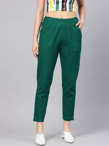 Women's Green Cotton Blend Solid Mid-Rise Trouser - vezzmart