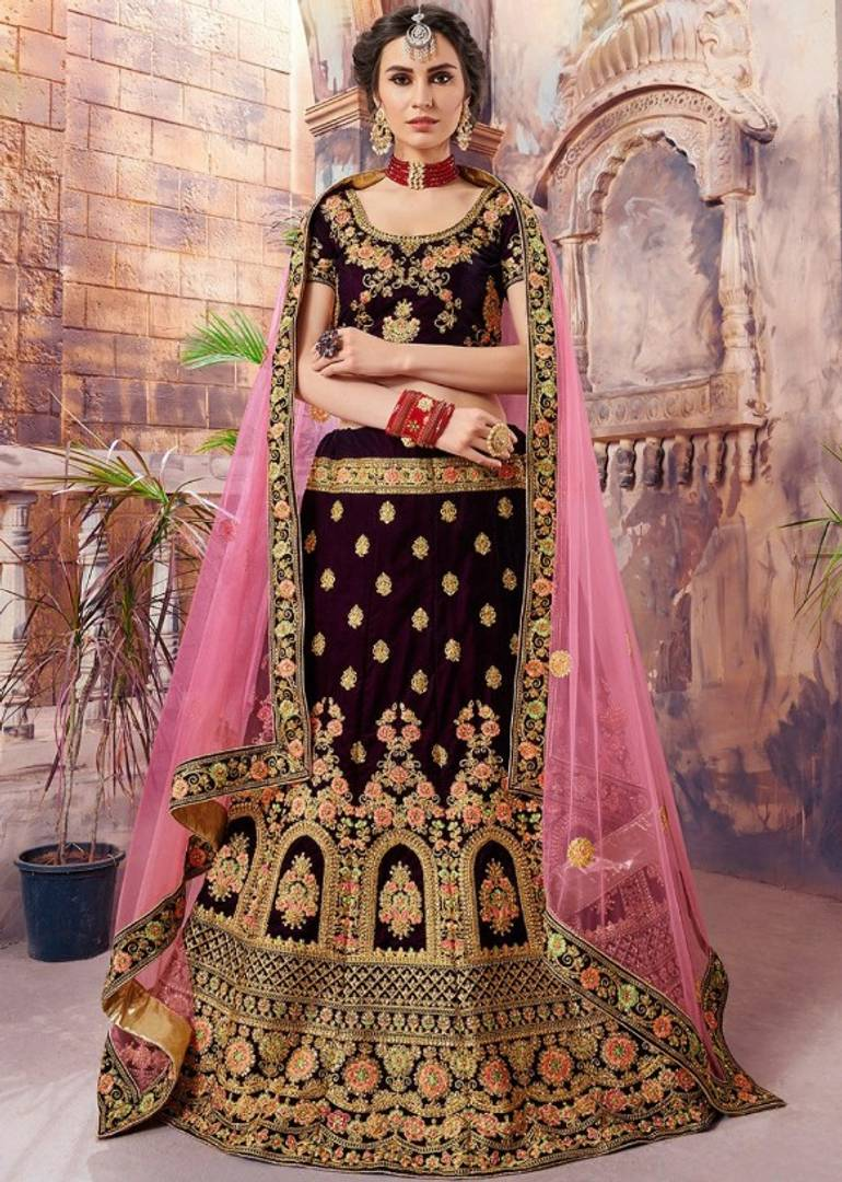 Heavy Embroidery Satin Lehenga Choli With Pink Net Dupatta - vezzmart