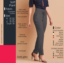 Load image into Gallery viewer, Women Cotton Solid High Waist Trouser - vezzmart