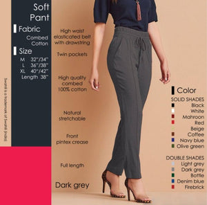 Women Cotton Solid High Waist Trouser - vezzmart