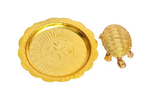 FENG SHUI DECORATIVE SPIRITUAL TORTOISE WITH OM PLATE GOLDEN - vezzmart