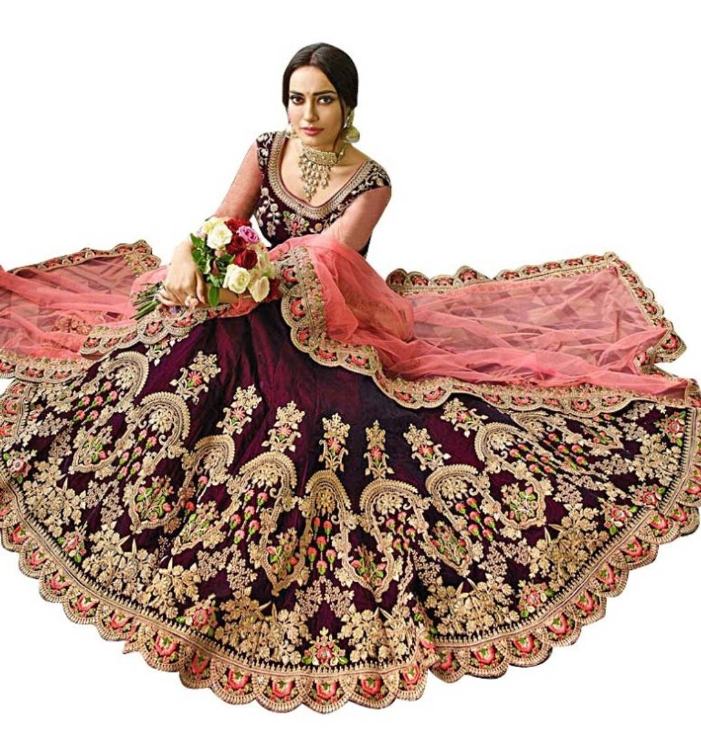 Silk Embroider Bridal Semi Stitched Lehenga Choli - vezzmart