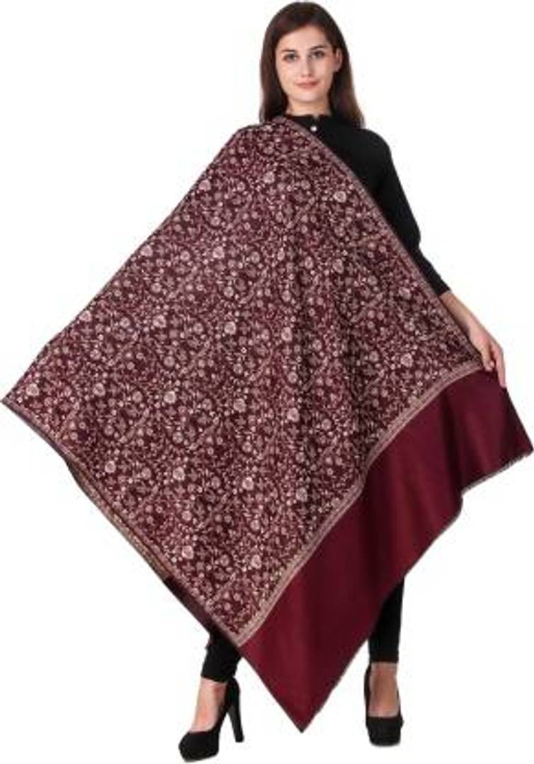KASHMIRI SHAWL Wool Embroidered Women's mehroon Shawl - vezzmart