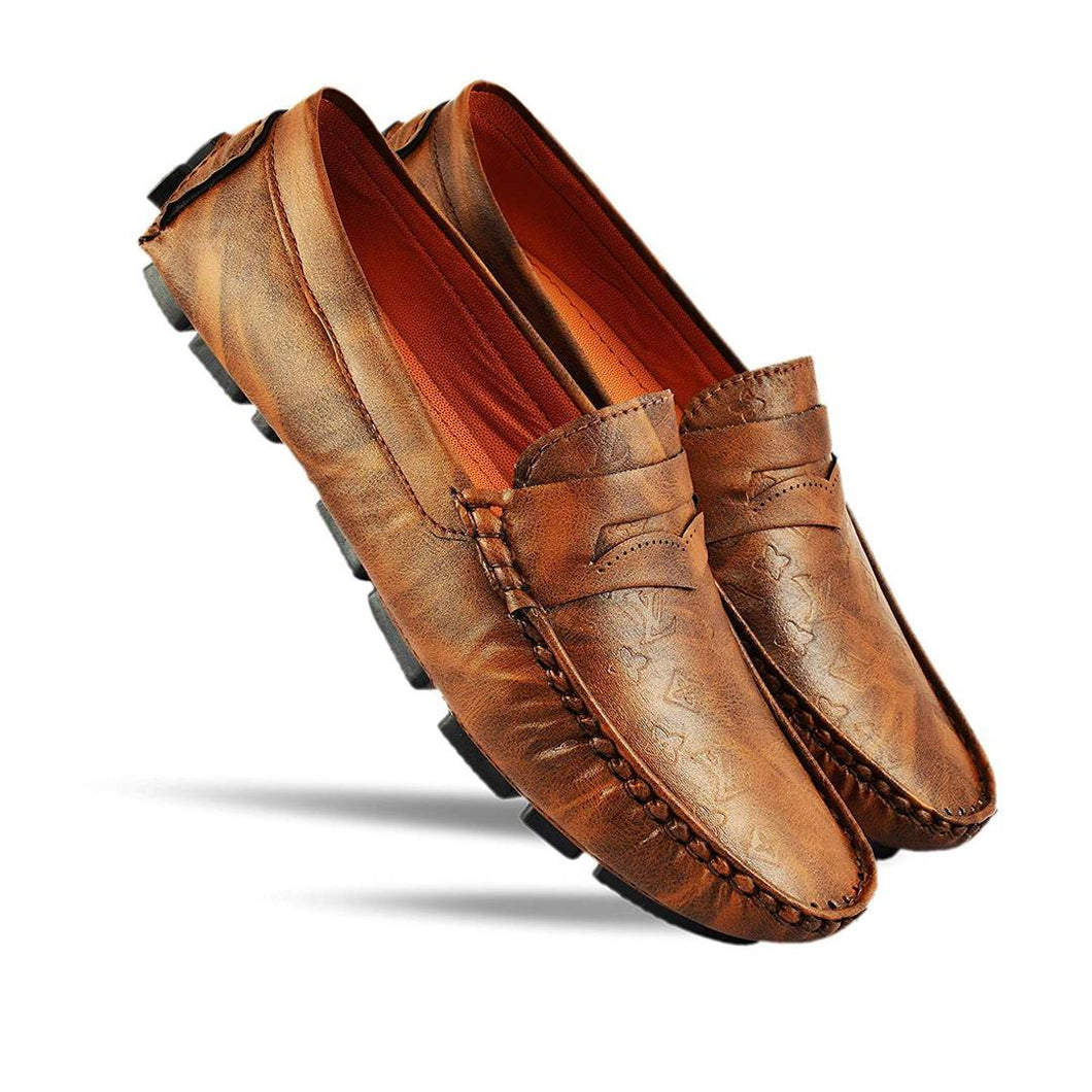 Elegant & Stylish Perforated Brown Driving Textured Loafers for Men - vezzmart