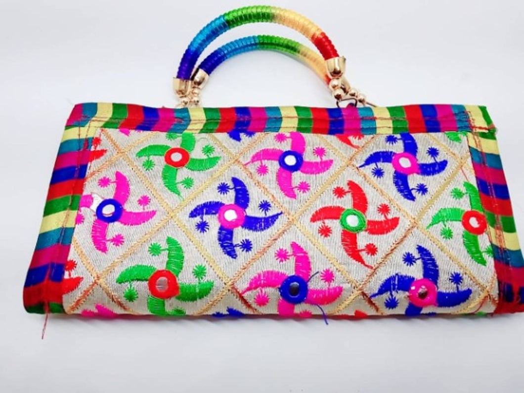 Kutchi Handwork Satin Clutch For Women - vezzmart