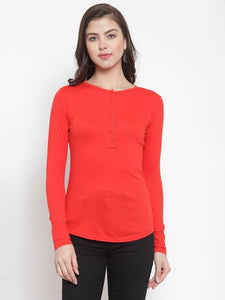 Women Red Cotton  Tops - vezzmart