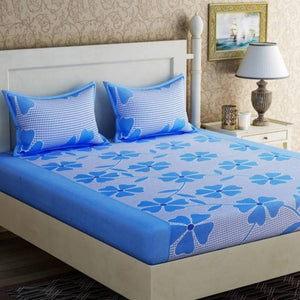 Attractive 3D Printed Double Bedsheet With 2 Pillow Covers (Thread Count 170) - vezzmart