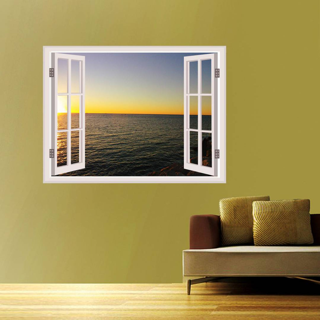 Wall Stickers for Bedroom Kitchen Home Decor Window Illusion (22X30Inches) - vezzmart
