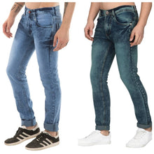 Load image into Gallery viewer, Men's Multicoloured Stylish Denim Faded Slim Fit Jeans (Pack of 2) - vezzmart