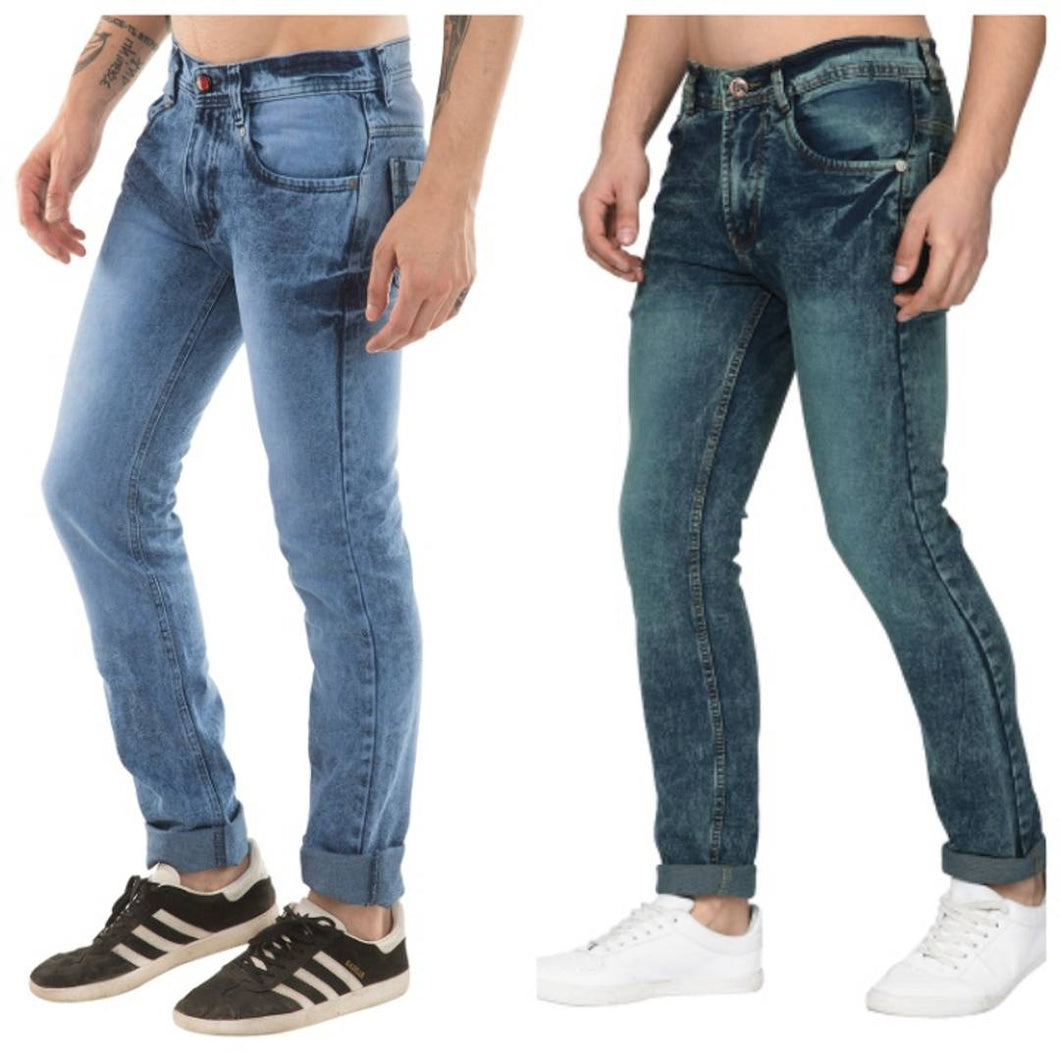 Men's Multicoloured Stylish Denim Faded Slim Fit Jeans (Pack of 2) - vezzmart