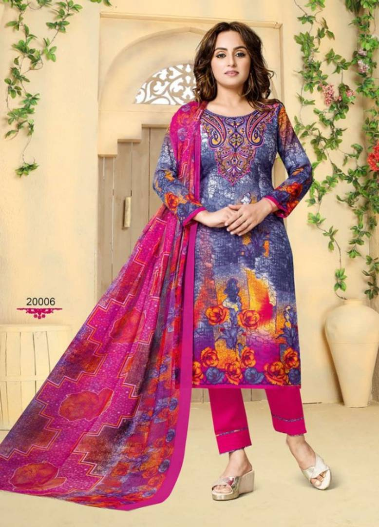 Beautiful Cotton Printed Dress Material With Dupatta - vezzmart