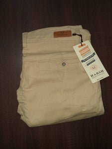 Men's Beige Cotton Blend Solid Mid-Rise Slim Fit Regular Casual Trouser - vezzmart
