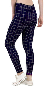 Stylish Cotton Checked Skinny Fit Ankle Jeggings - vezzmart