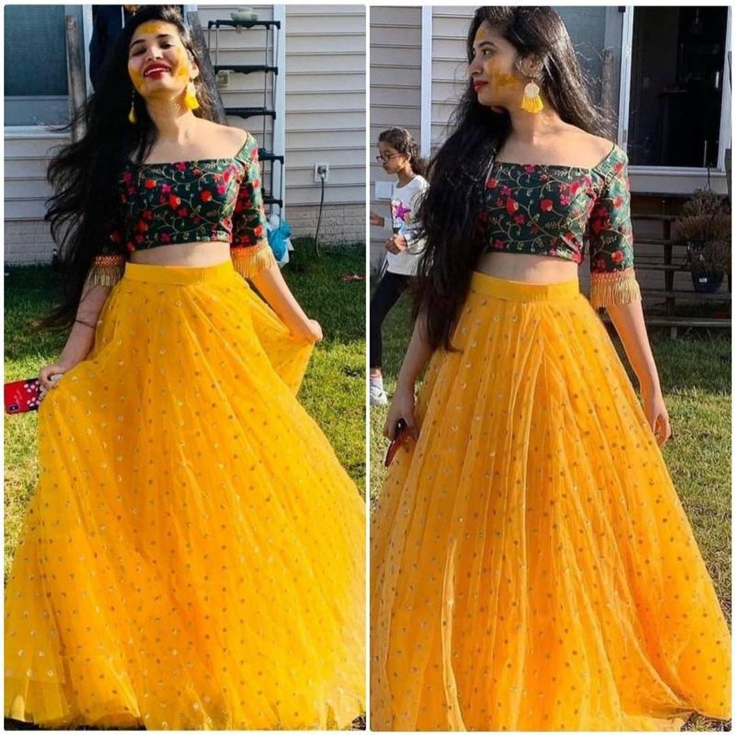 Yellow Embroidered Net Lehenga Choli - vezzmart