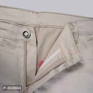 Men's Off White Cotton Blend Solid Mid-Rise Regular Fit Cargo Pants - vezzmart