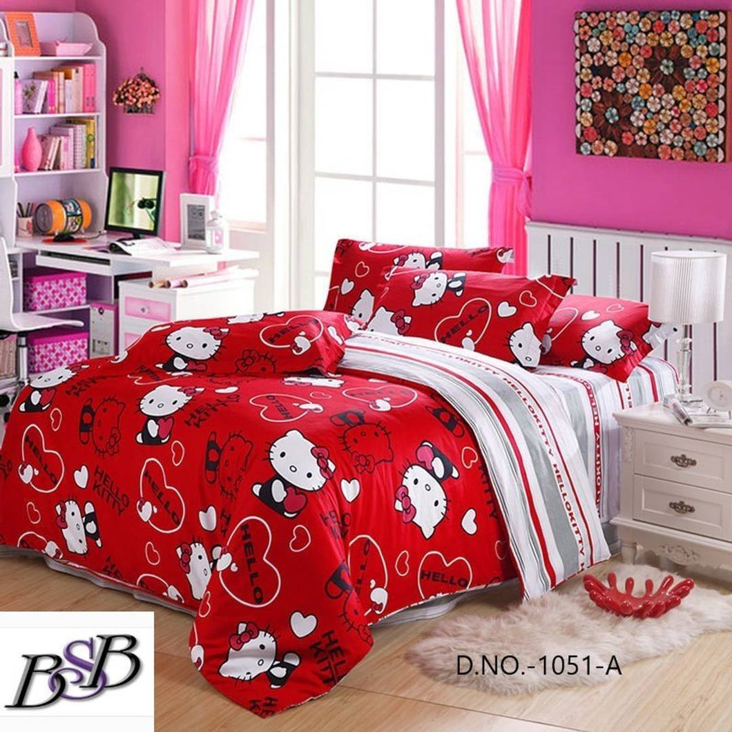 Polycotton Double Bed Bedsheet with 2 Pillow Cover - vezzmart