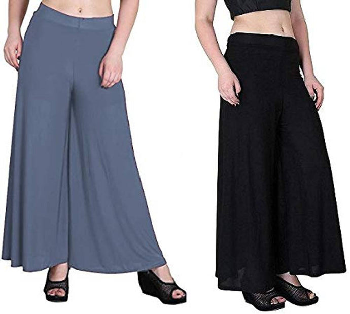 Women's/Girl's Cotton Lycra Palazzo Pant Pack of 2 Free Size - vezzmart