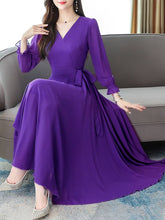 Load image into Gallery viewer, Women Purple V-Neck Long Sleeve Georgette Maxi Dress - vezzmart