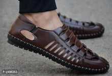 Load image into Gallery viewer, Brown Synethetic Leather Sandals For Men - vezzmart